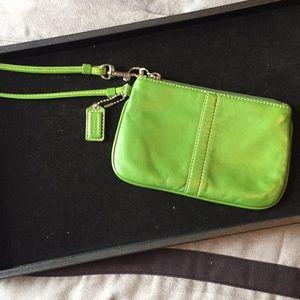 Green Coach Wristlet